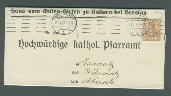 Breslau Interessanter frankierter Beleg DeutschesReich