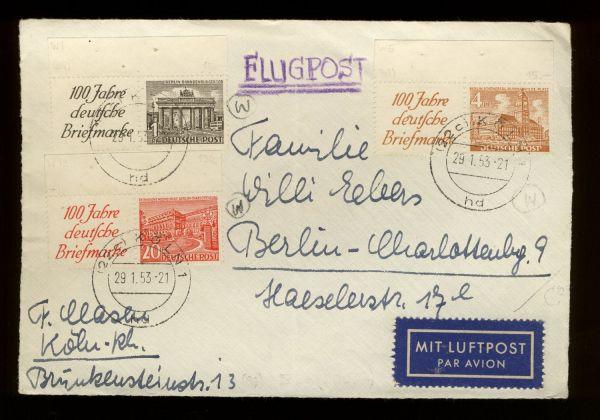 Berlin ZD W 13 u.a. auf Briefvorderseite