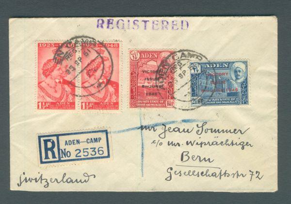 Aden altes Einschreiben in die Schweiz