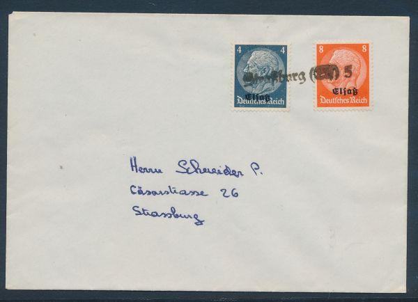 Elsaß Provisorischer Stempel Straßburg auf Brief