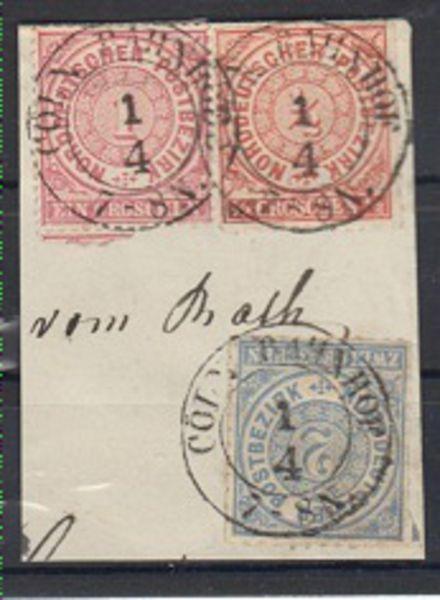 NDP Dreifarbenfrankatur Briefstück 1 + 4. Ausgabe