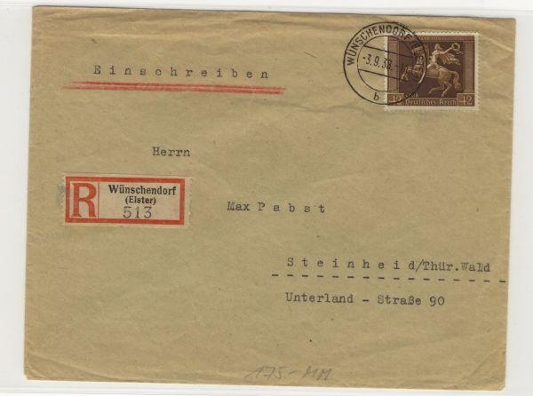 Deutsches Reich Mi.Nr.671 aufEinschreiben Wünschendorf