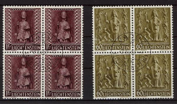 Liechtenstein Mi.Nr.386-88 Viererblocks gestempelt