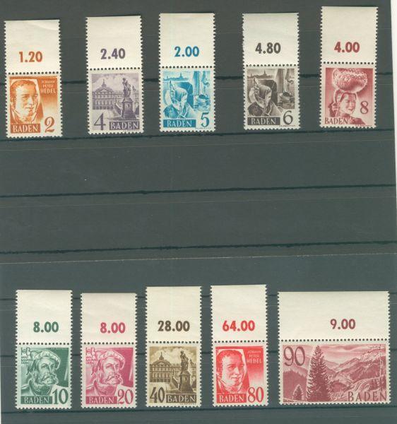 Baden Mi.Nr. 28-37 Oberränder ** postfrisch