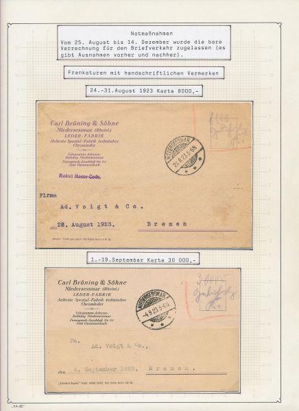 Deutsches Reich Riesensammlung Belege Inflazeit