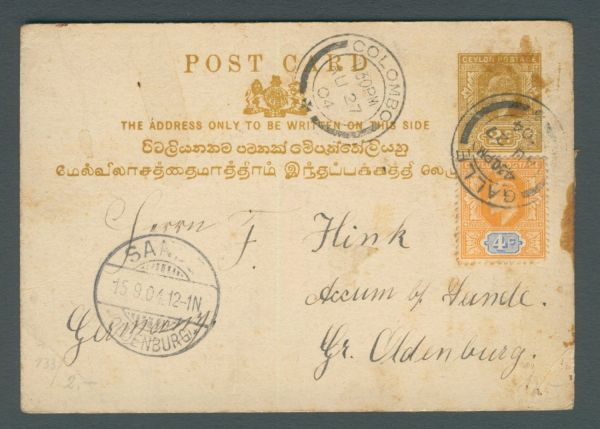 Ceylon Interessante alte Ganzsache nach Sande Ostfr.