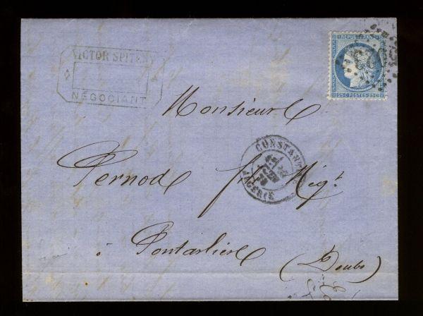 Algerien Interessanter Alt - Beleg 1873