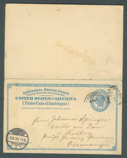 USA Interessante Ganzsache mit Antwortteil 1896