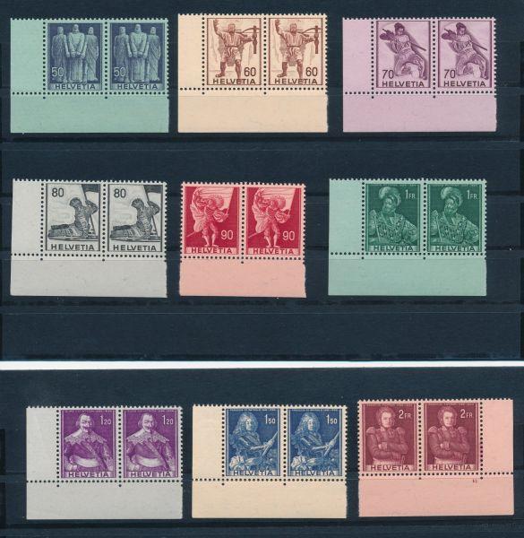 Schweiz Mi.Nr.377-85 ** Paare meist aus der Bogenecke