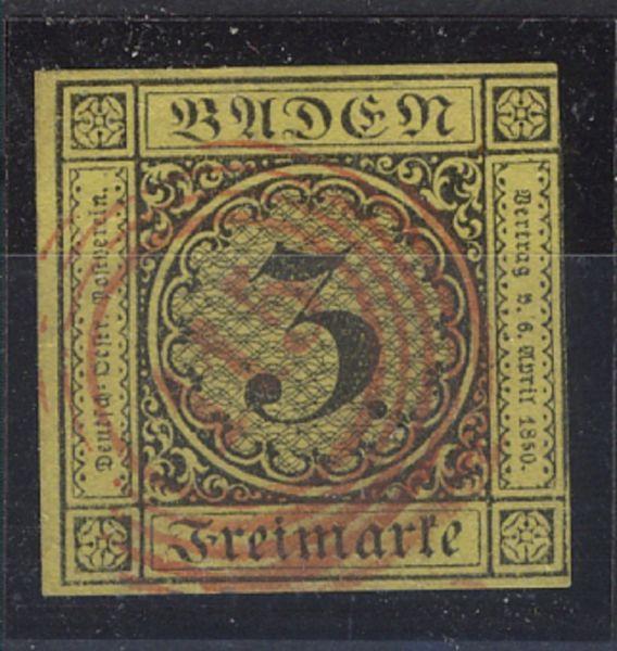 Baden Mi.Nr. 2 mit rotem NS 115