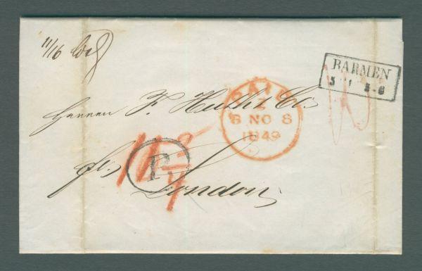 Barmen-London 1849 mit Inhalt Vorphila-/Altbeleg