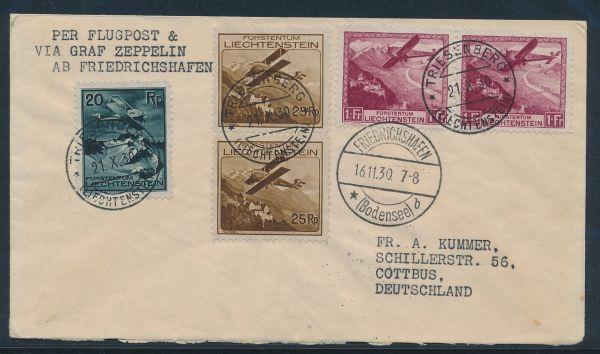 Liechtenstein Tolle Flugpost Frankatur ex 108-13