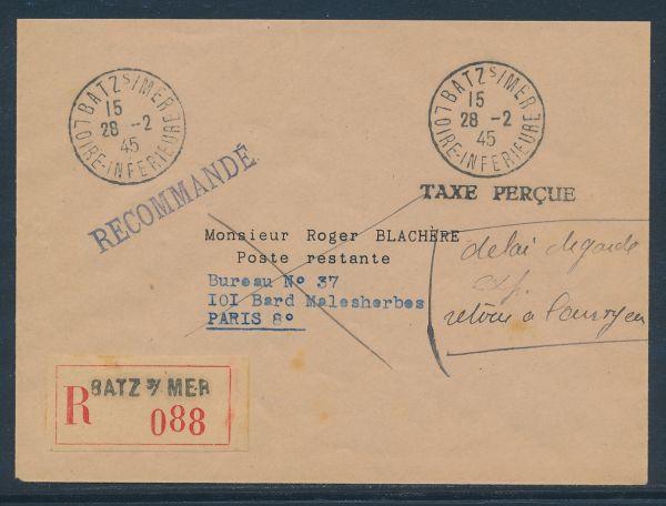 Frankreich Txe Percue Batz/Mer Einschreiben nach Paris