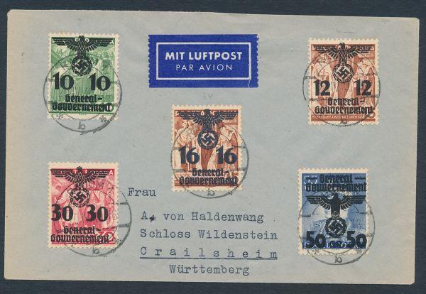 Generalgouvernement Mi.Nr.15,21,23,33 und 34 auf Brief
