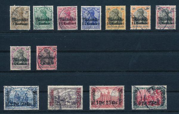 Deutsche Post in Marokko Mi.Nr.46-58 gestempelt