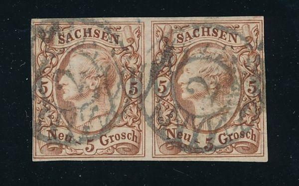 Sachsen Mi.Nr.12e Luxus-Paar gestempelt Fotoattest BPP