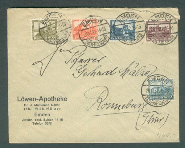 Deutsches Reich Mi.Nr.474-78 Satzbrief aus Emden