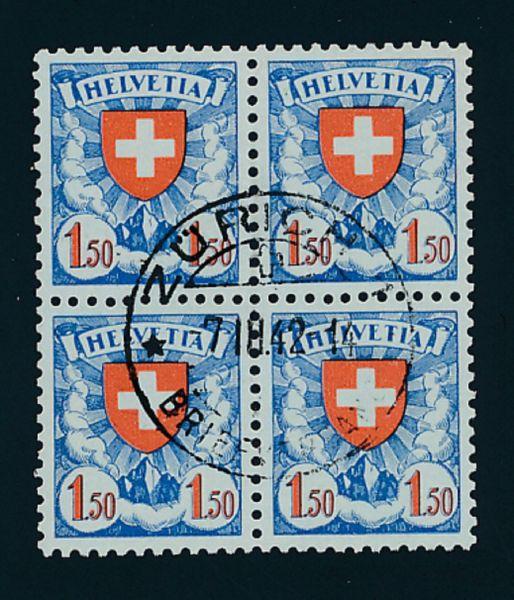 Schweiz Mi.Nr.196 Y Vierer gestemp. Lux Fotoattest BPP