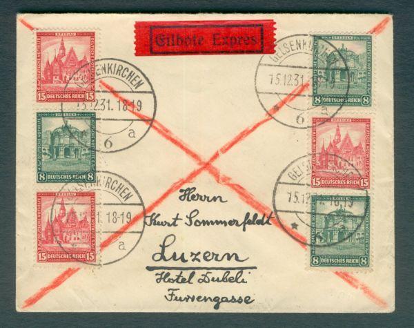 Deutsches Reich Zusammendruck auf Auslands - Brief