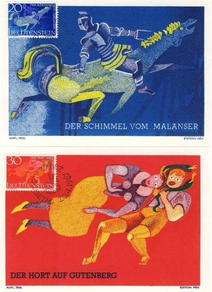 Liechtenstein Mi.Nr.475-77 Alte Maximumkarten