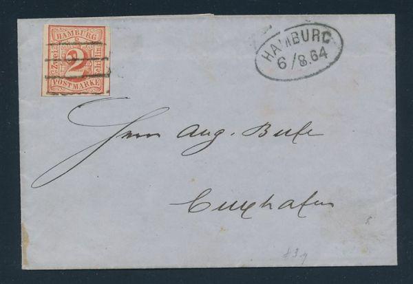 Hamburg Mi.Nr.3 auf Brief Luxus Fotoattest Lange BPP