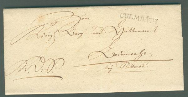 Culmbach L 1 Vorphila/Altbeleg 1829 mit Inhalt