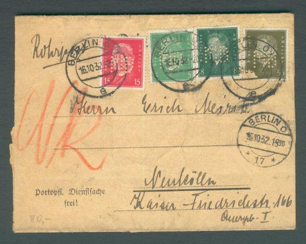 Deutsches Reich Amtl.Lochung Berlin stark lädiert