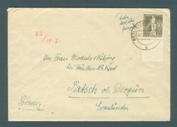 Berlin Mi.Nr. 38 Unterrandstück auf Auslandsbrief