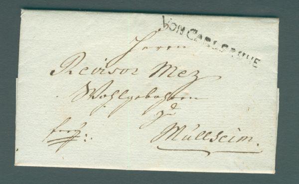 von Carlsruhe 1802 Sehr seltener Vorhilabeleg mit Inh.
