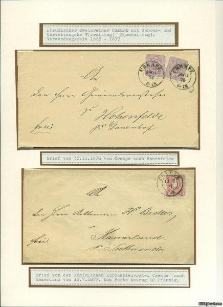 CREMPE Stempel auf 2 Briefen Deutsches Reich