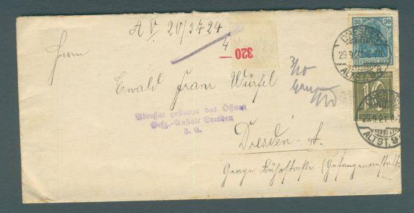 Deutsches Reich Gefangenenpost Dresden 1922