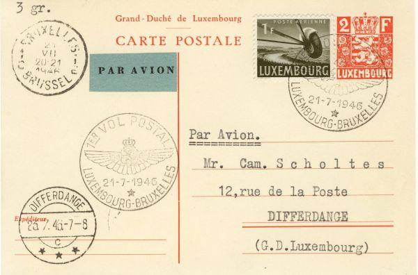 Luxemburg Alter Flugpostbeleg