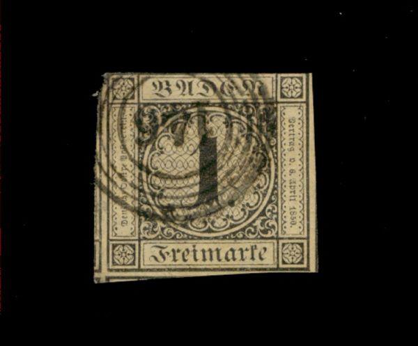Baden Mi.Nr.1a gestempelt Fotobefund BPP (1000.-Euro)