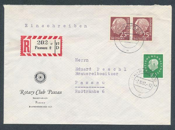 Bund Mi.Nr.186y im Paar auf Brief Luxus Fotoattest BPP