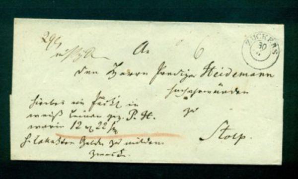 ZUCKERS - Pommern Vorphilabrief