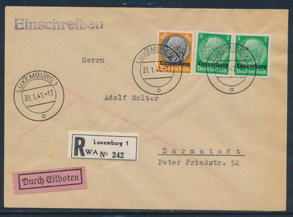 Luxemburg Mi.Nr.3 (2mal)+16 Einschreiben + Eilboten+AK