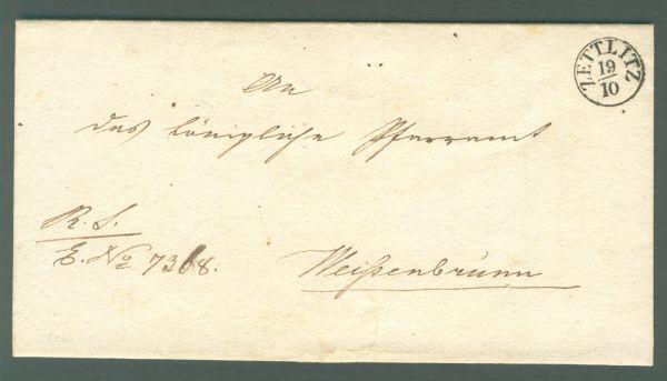 Zettlitz K 1 1837 mit Inhalt Vorphila/Altbeleg