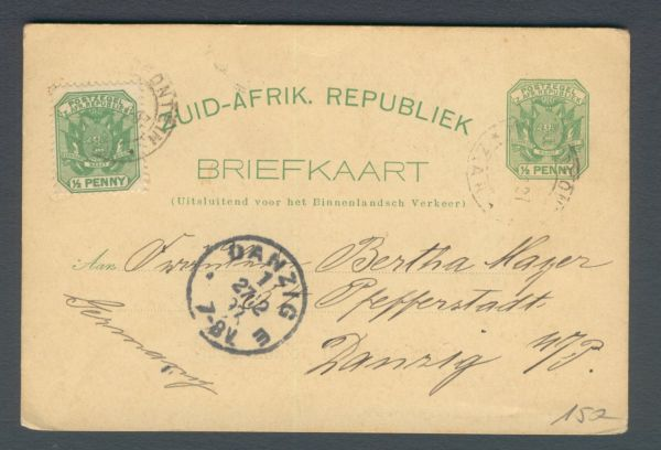 Südafrikanische Republik Alte Ganzsache nach Danzig