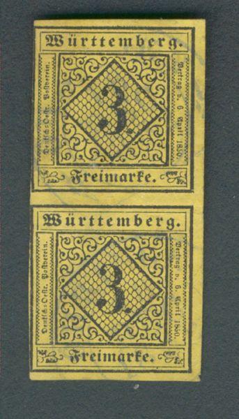 Württemberg Mi.Nr.2d Typenpaar gestempelt Fotobef. BPP