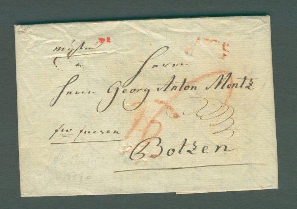 Stolberg bei Aachen Vorphila-/Altbeleg 1790 Inhalt