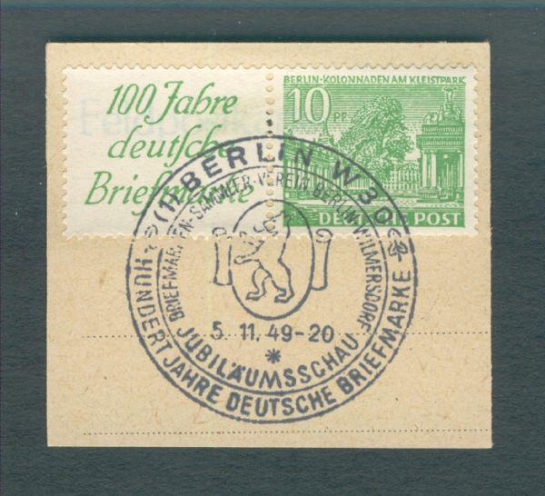 Berlin Zusammendruck W 9 Briefstück mit Sonderstempel