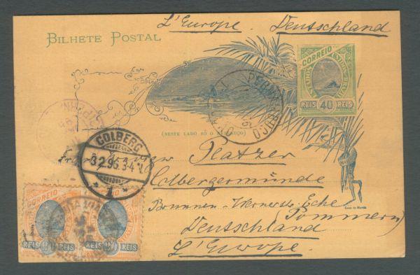 Brasilien Interessante Ganzsache 1896 Zusatzfrankatur