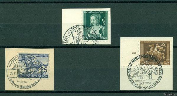 DEUTSCHES REICH Mi.Nr.671,700+746 Briefstücke