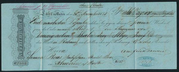 Baden alter Wechsel aus dem Jahre 1858