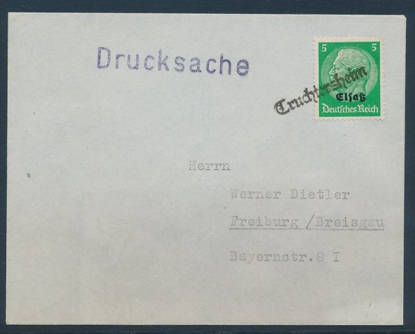 Elsaß Provisorischer Stempel Truchtersheim auf Brief