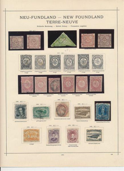 Neufundland Stark besetzte alte Sammlung auf Vordruck