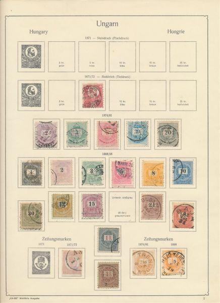 Ungarn alte Vorkriegssammlung auf Vordruckblättern