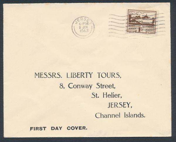 Jersey Mi.Nr. 5 auf Ersttagsbrief 8. Juni 1943
