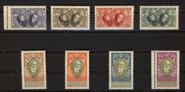 Liechtenstein Mi.Nr.82-89 ** Fotoattest einwandfrei