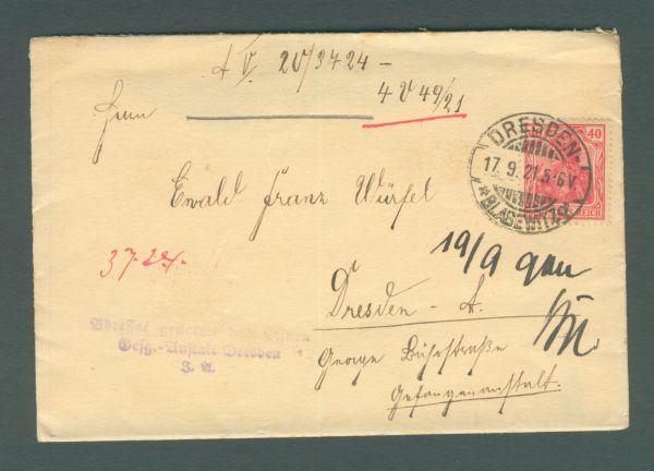 Deutsches Reich Dresden 1921 Gefangenen - Post